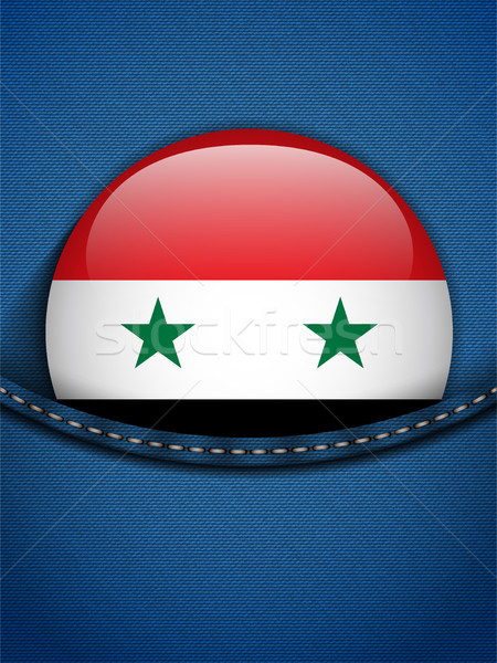 Síria bandeira botão jeans bolso vetor Foto stock © gubh83