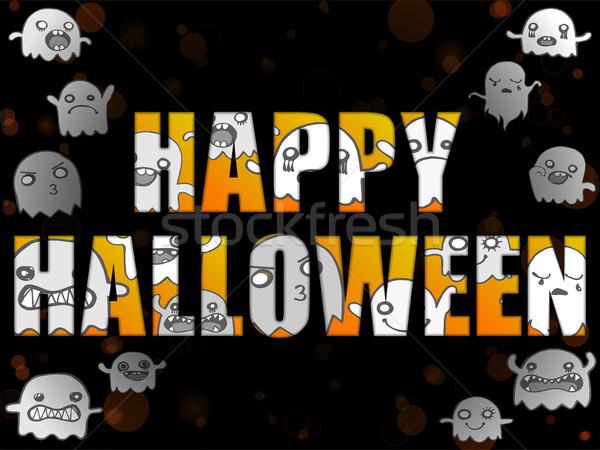 Halloween lettere fantasmi vettore felice sfondo Foto d'archivio © gubh83
