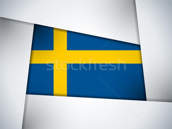 Szwecja kraju banderą geometryczny wektora działalności Zdjęcia stock © gubh83