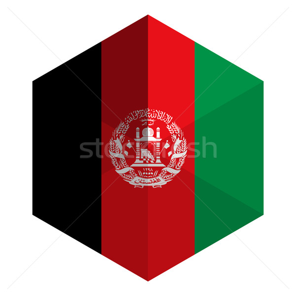 Афганистан флаг шестиугольник икона кнопки Мир Сток-фото © gubh83