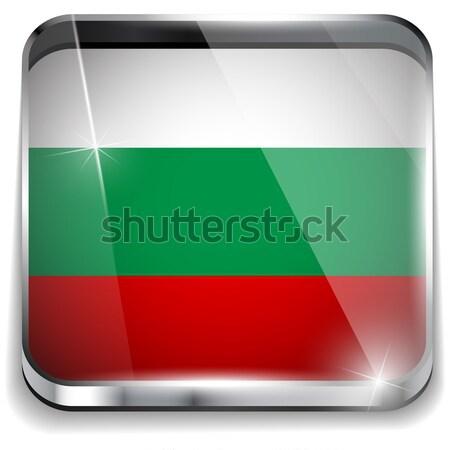 ブルガリア フラグ スマートフォン アプリケーション 広場 ボタン ストックフォト © gubh83