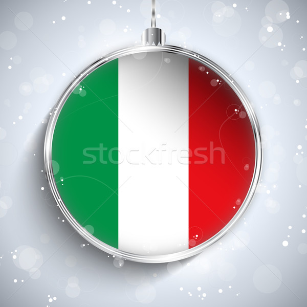 Merry Christmas Silver Ball with Flag Italy Stock photo © gubh83