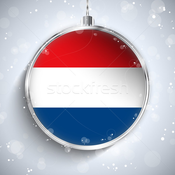 Merry Christmas Silver Ball with Flag Netherlands Stock photo © gubh83