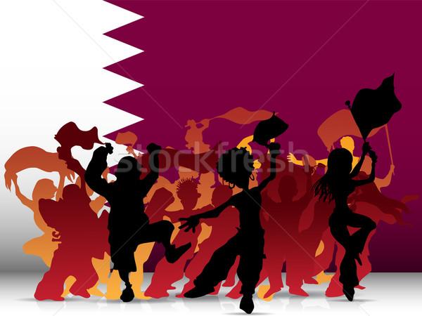 Stock photo: Qatar Sport Fan Crowd with Flag