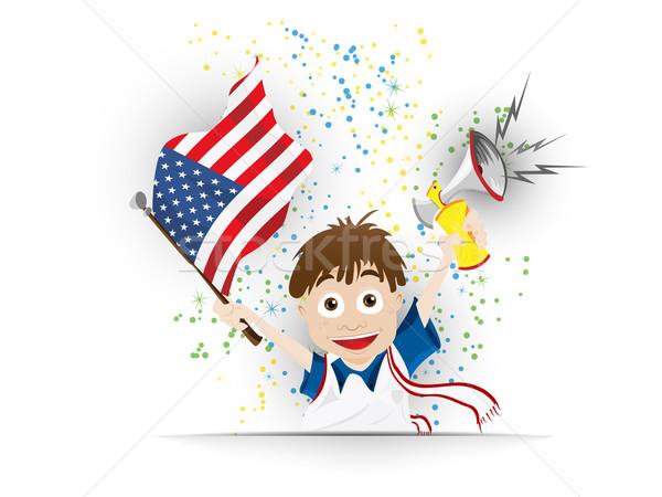 USA Soccer Fan Flag Cartoon Stock photo © gubh83