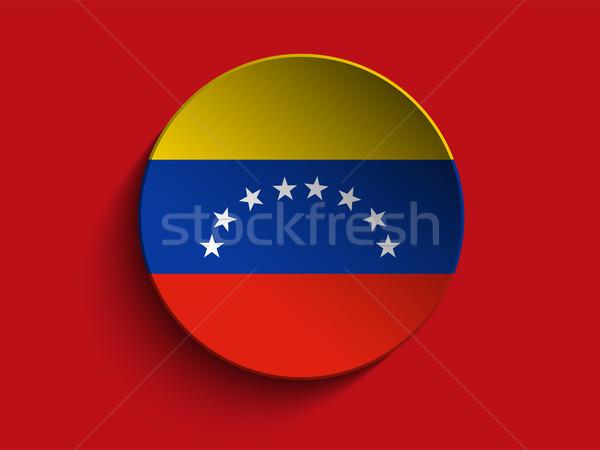 Vlag papier cirkel schaduw knop Venezuela Stockfoto © gubh83