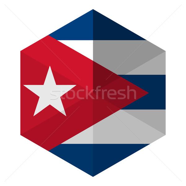 Cuba bandeira hexágono ícone botão mundo Foto stock © gubh83