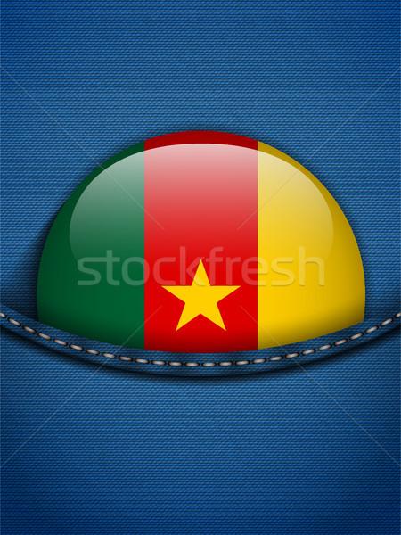 Kameroen vlag knop jeans zak vector Stockfoto © gubh83