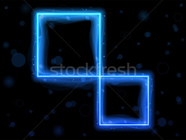 Blue Square Border with Sparkles and Swirls. Stock photo © gubh83
