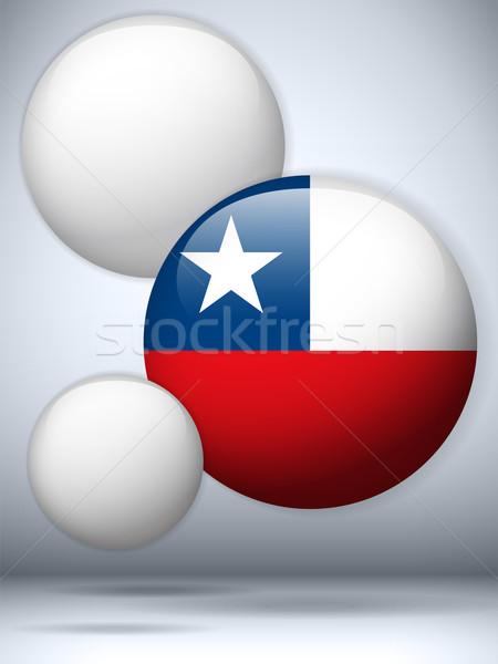 Chile banderą przycisk wektora szkła Zdjęcia stock © gubh83
