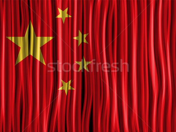 Kína zászló hullám szövet textúra vektor Stock fotó © gubh83