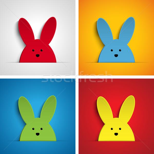 Stock fotó: Kellemes · húsvétot · nyúl · nyuszi · szett · rajz · vektor