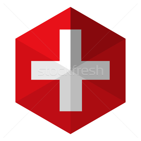 Switzerland Flag Hexagon Flat Icon Button Stock photo © gubh83