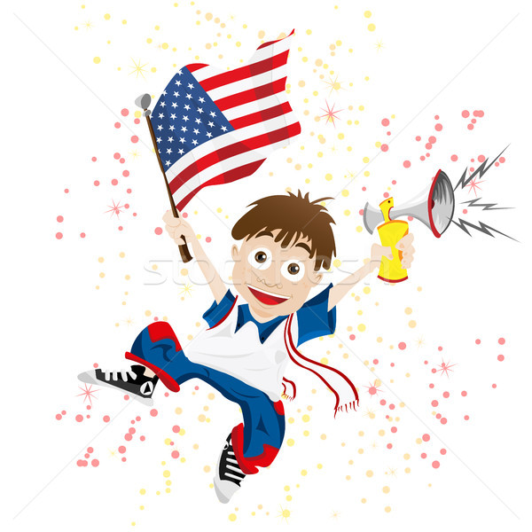 United States of America Sport Fan with Flag and Horn Stock photo © gubh83
