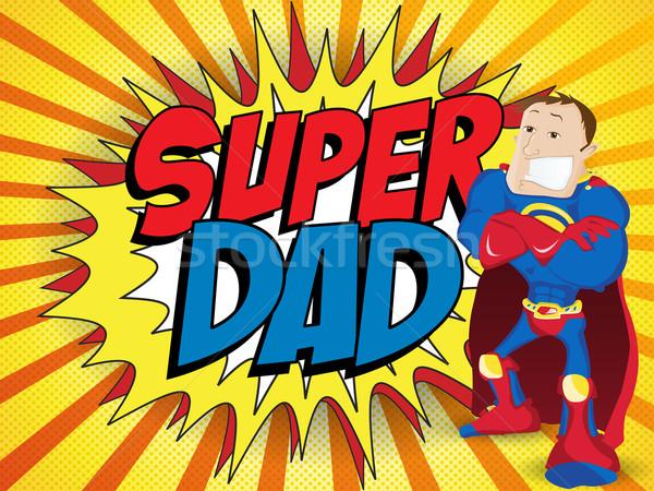 Foto stock: Super · homem · herói · pai · feliz · pai