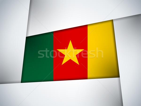 Kamerun kraju banderą geometryczny wektora działalności Zdjęcia stock © gubh83