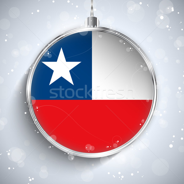 Merry Christmas Silver Ball with Flag Chile Stock photo © gubh83