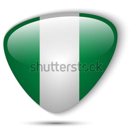 Zdjęcia stock: Nigeria · banderą · przycisk · wektora · szkła