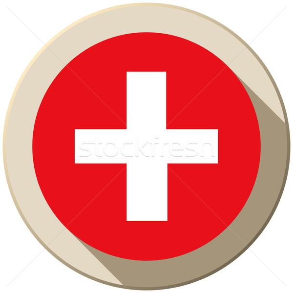 Suisse pavillon bouton icône modernes vecteur Photo stock © gubh83