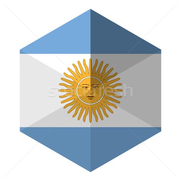 Аргентина флаг шестиугольник икона кнопки Мир Сток-фото © gubh83