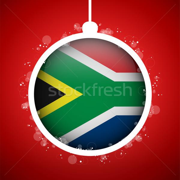 Vrolijk christmas Rood bal vlag South Africa Stockfoto © gubh83