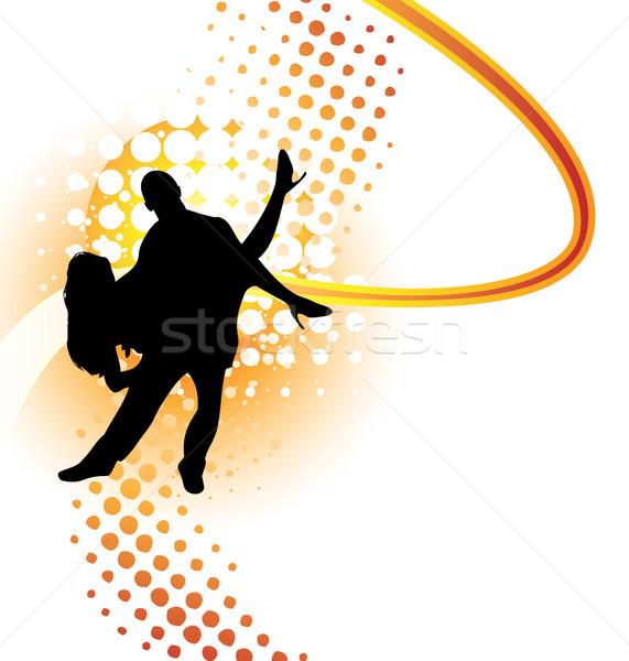 Tancerzy sylwetka pomarańczowy półtonów kobiet dance Zdjęcia stock © gubh83
