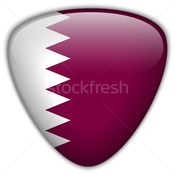 Катар флаг кнопки вектора стекла Сток-фото © gubh83