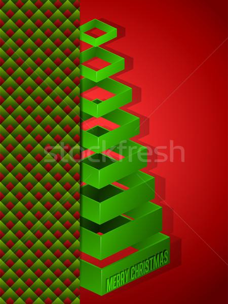 Neşeli Noel happy new year ağaç vektör kâğıt Stok fotoğraf © gubh83