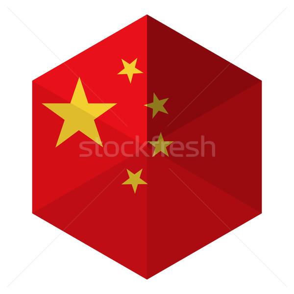 China vlag zeshoek icon knop wereld Stockfoto © gubh83
