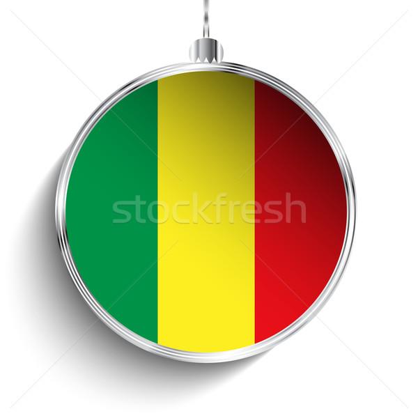 Vrolijk christmas zilver bal vlag Mali Stockfoto © gubh83