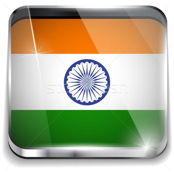 Stok fotoğraf: Hindistan · bayrak · uygulama · kare · düğmeler