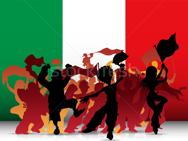 Italy Sport Fan Crowd with Flag Stock photo © gubh83