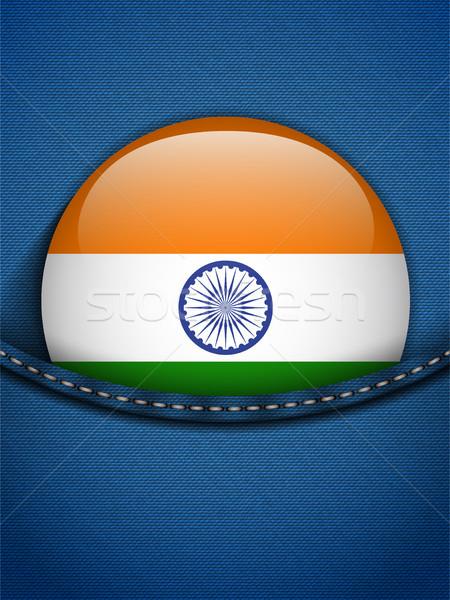 Stok fotoğraf: Hindistan · bayrak · düğme · kot · cep · vektör