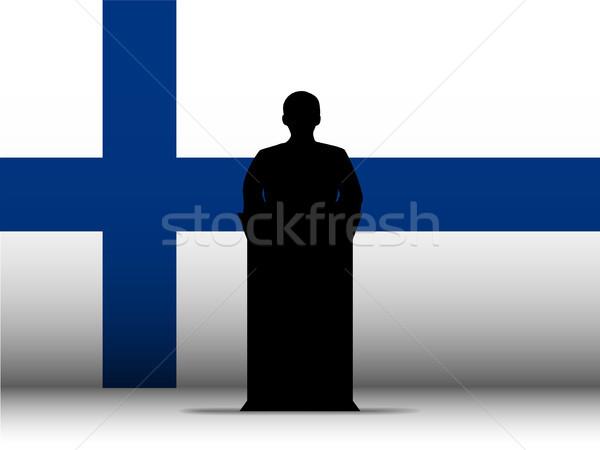Finlândia discurso silhueta bandeira vetor homem Foto stock © gubh83