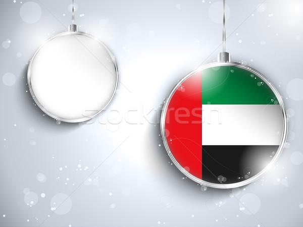 Vrolijk christmas zilver bal vlag vector Stockfoto © gubh83