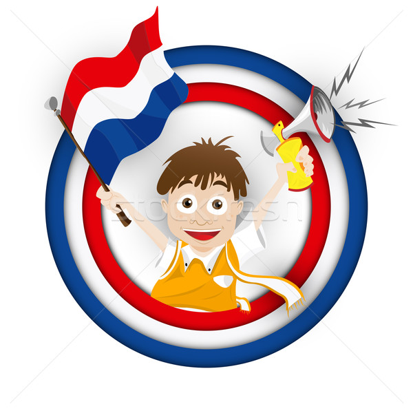 Netherlands Soccer Fan Flag Cartoon Stock photo © gubh83