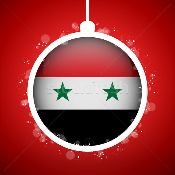 Merry Christmas Red Ball with Flag Syrian Stock photo © gubh83
