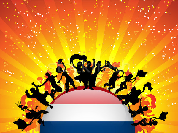 Netherlands Sport Fan Crowd with Flag Stock photo © gubh83