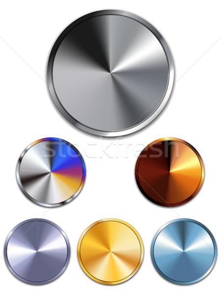 Metal botões prata ouro cobre vetor Foto stock © gubh83