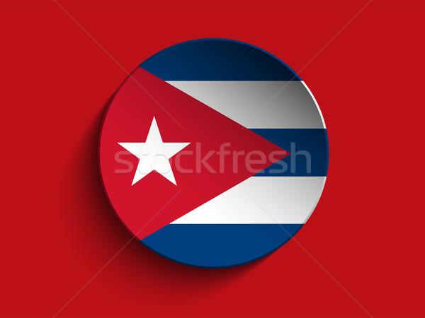 Zászló papír kör árnyék gomb Kuba Stock fotó © gubh83