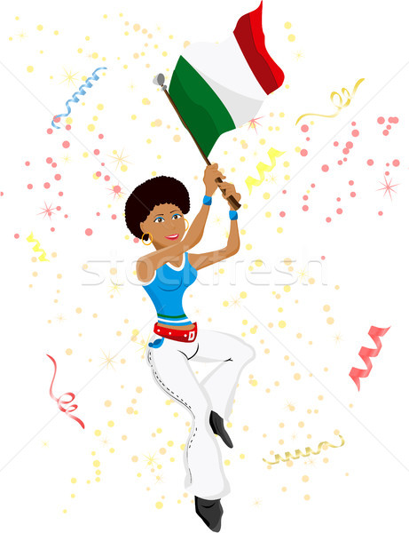Stock photo: Black Girl Italy Soccer Fan with flag.