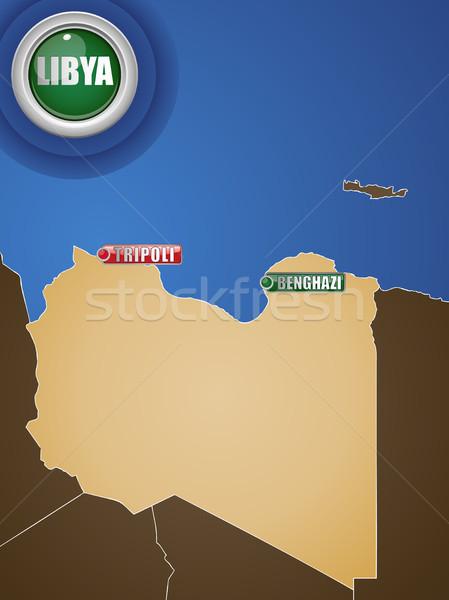 Libya War Map with Cities Tripoli and Benghazi Stock photo © gubh83