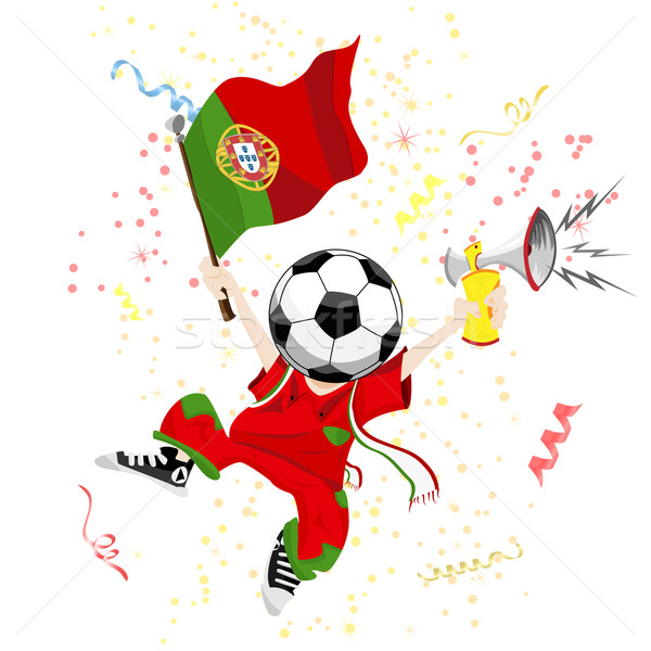 Portugal Soccer Fan with Ball Head.  Stock photo © gubh83