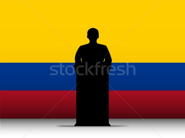 Kolombiya konuşma siluet bayrak vektör adam Stok fotoğraf © gubh83