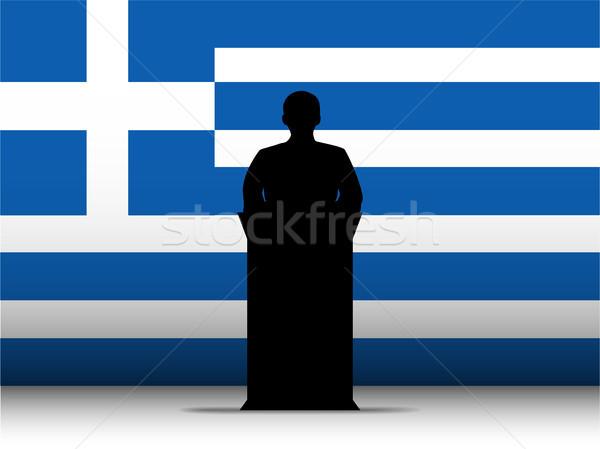 Greece Speech Tribune Silhouette with Flag Background Stock photo © gubh83