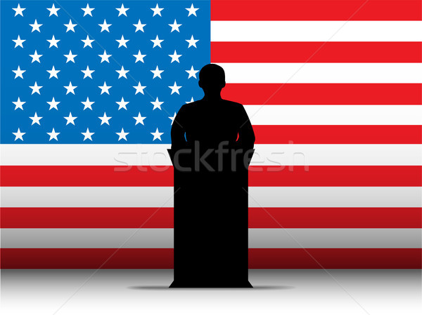 United States of America USA Speech Tribune Silhouette with Flag Stock photo © gubh83