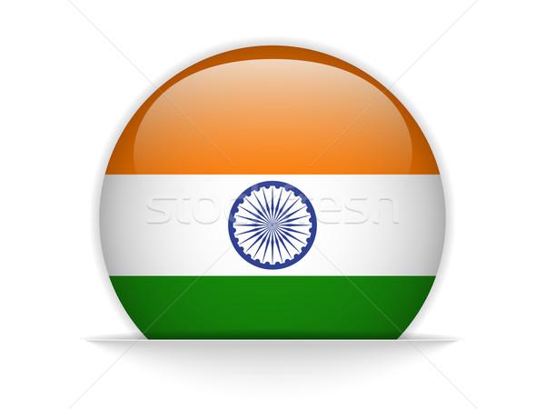 India zászló fényes gomb vektor üveg Stock fotó © gubh83