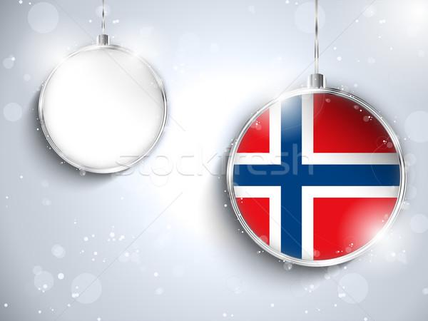Vrolijk christmas zilver bal vlag Noorwegen Stockfoto © gubh83