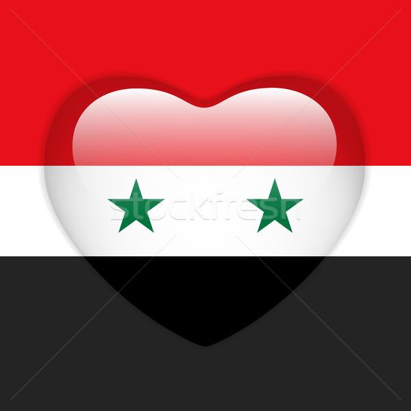 Síria bandeira coração botão vetor Foto stock © gubh83