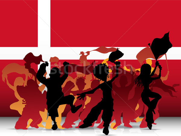 Stock photo: Denmark Sport Fan Crowd with Flag
